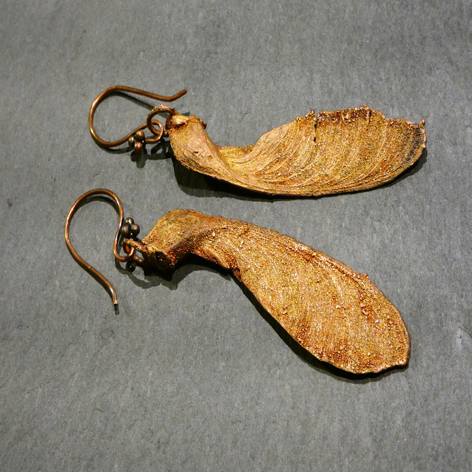 Large Sycamore Seed Copper Drop Earrings